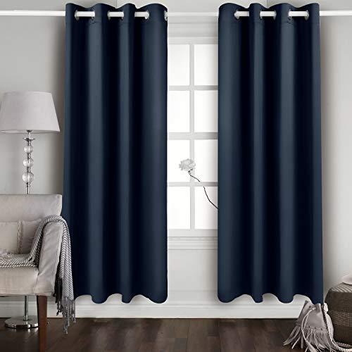 vetoky Blickdichter Gardinen - mit Ösen Vorhang Thermovorhang Blickdicht Wärmeisolierend, 2er Set H 175 x B 140 cm,Tiefseeblau