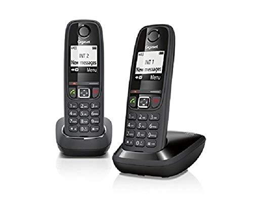 Gigaset AS 405 Duo Telefono Cordless, Chiamate tra Interni Interfono, Rubrica Personalizzabile, Trasferimento di Chiamata, Nero [Italia]