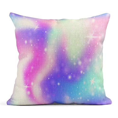 Kinhevao Cojín Fairy Rainbow Mesh Universo Multicolor en Colores Princesa Fantasía Gradiente Holograma Holográfico Cojín de Lino mágico Almohada Decorativa para el hogar
