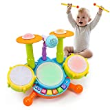 Fajiabao Baby Toys 12-18 Months Kids Drum Set Musical Toys for 1 2 3 Year Old Early Education Toys for Boys Girls Drum Set for Toddlers 1-3 with Microphone Light and Lullabies Music