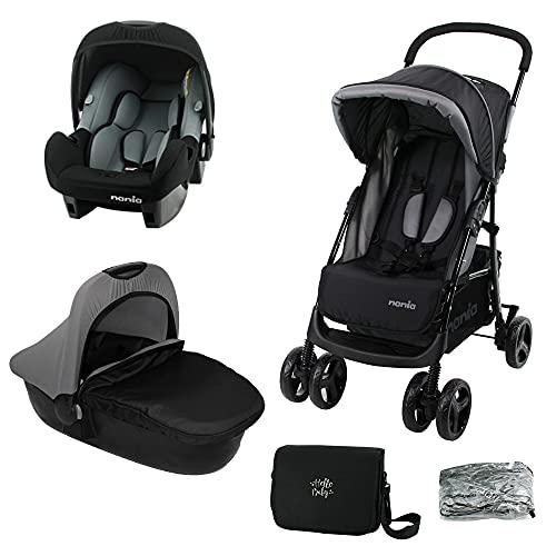 Nania, Cochecito combinado 3 en 1 Texas + silla para coche Beone 0+ (0-13 kg) + capazo para cochecito Flora (con accesorios)