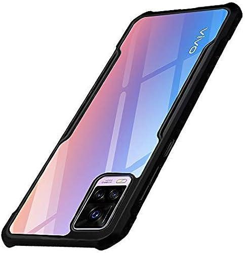 TheGiftKart Shockproof Crystal Clear Transparent Vivo V20 Back Cover Case 360 Degree Protection Protective Design Black Bumper
