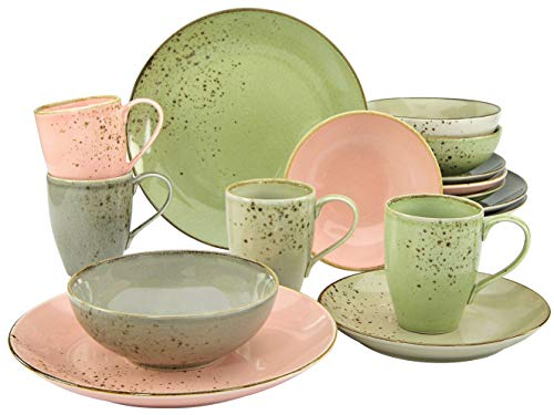 CreaTable, 20298, Serie Nature Collection VINTAGE GARDEN, Geschirrset, Kombiservice 16 teilig
