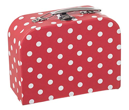 Bieco Kinderkoffer mit Punkten in Rot | Koffer aus Pappe, Metallgriffe | Köfferchen für Kinder, Reisekoffer Kinder | Gutschein Verpackung | Reise-Spielekoffer