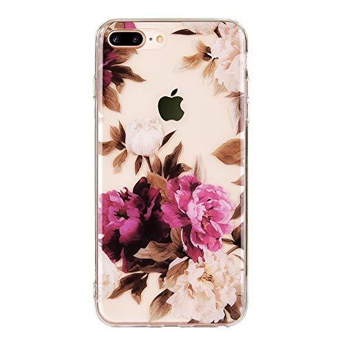 ITTI UK - Carcasa para iPhone 8 Plus, iPhone 7 Plus, diseño de flores tropicales de verano para niñas y mujeres [parte trasera de policarbonato duro + parachoques suave] Funda protectora ultra fina (Vintage Peony 8+)