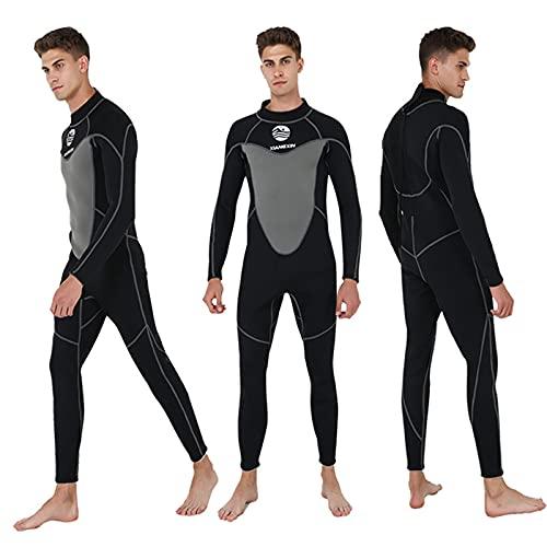 HWZZ Traje De Neopreno De Verano De 3 Mm De Longitud Completa para Hombres, Traje De Neopreno para Buceo De Surf para Adultos, Adecuado para Buceo Y Surf En Alta Mar,Negro,L