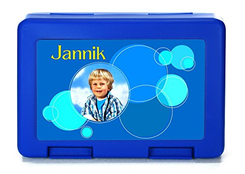 """bedruckte Brotdose/Lunchbox Blau – Motiv """"1"""" mit Ihrem Foto und dem Wunschnamen"""