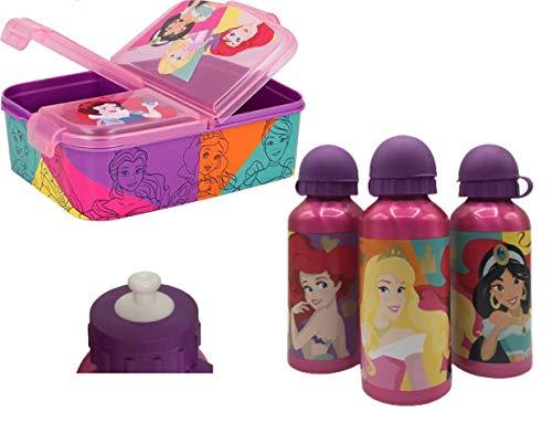 Set 1 Botella de Agua de Aluminio Infantil con Fiambrera sandwicheras con 3 Compartimentos para niñas y niños, cantimplora térmica a Prueba de Fugas sin BPA Termo 400 ml