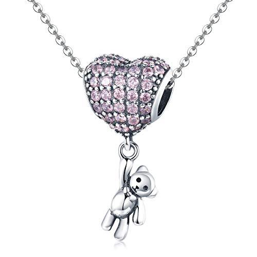 XJYA S925 Sterling Silberperlen Bärenballon DIY-Bülen Herzform Eingelegter Zirkonbohrer Armband Zubehör Passend zu Frauen