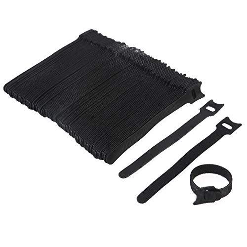 NUOLUX Fascette per cavi, 100pcs fascette da 6 pollici con riutilizzabili Hook e Loop Strap (Black)