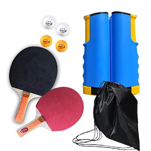 Conjuntos Mesa de ping pong,manijas de álamo de raqueta,el juego se incluyen Cuatro ABS de alta elasticTable pelotas de tenis,bolsa de almacenamiento,6 retráctil malla Frame Colores,Blue/Yellow
