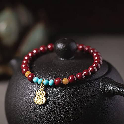 CYHSHY Feng Shui Amuleto Wu Lou Pulsera Cinnabar Buda Cuentas Riqueza Suerte con Cuentas Preciosas Naturales Curación energía Encanto Pulsera del Estiramiento,12mm