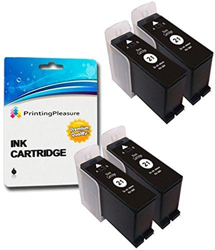 4 SCHWARZ Druckerpatronen für Dell All-In-One P513W, P713W, V313, V313W, V513W, V515W, V51, V715W | kompatibel zu Dell 21/22/23/24 (Y498D)
