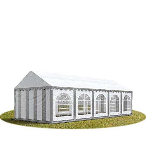TOOLPORT Festzelt Partyzelt 4x10 m Premium, hochwertige ca. 500g/m² PVC Plane in grau-weiß 100% wasserdicht mit Bodenrahmen
