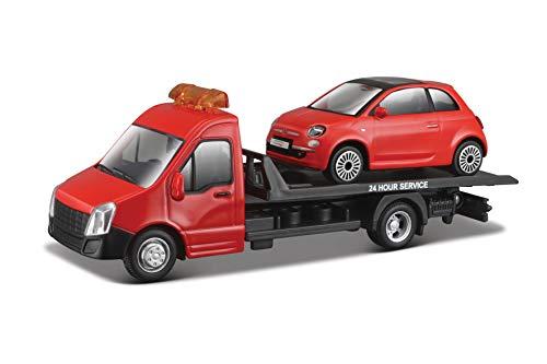 Bburago Bburago-18-31404 Grúa con Remolque, Incluye un Coche Fiat 500(2007) 18-31402, Color Rojo