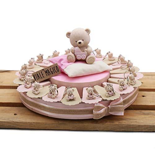 Bomboniera Nascita Battesimo Primo Compleanno Torta con TenerOrsi ROSA Portachiavi Bimba 35 pz
