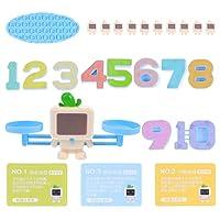 LIOOBO ロボットバランス数学おもちゃゲーム幹学習教育カウント数字のおもちゃ幼稚園モンテッソーリスケール数学おもちゃ幼児子供のためのギフトアソートカラー