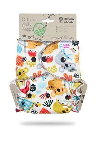 Petit Lulu Pannolino Mutandina Bambù Fitted Taglia Unica   Bottoni   Fluffy Organic   Pannolini di stoffa   Pannolini lavabili (Frisky Koalas))