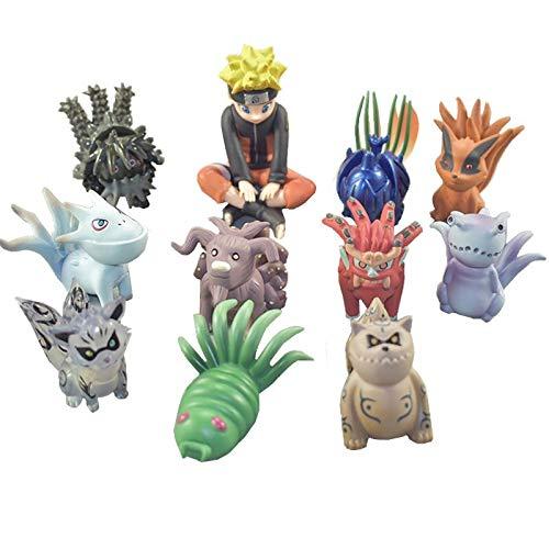 CLEARNICE 11 Stück/Set 4-6 cm Uzumaki Naruto PVC Actionfigur Spielzeug Bijuu Kyuubi Kurama Gaara Shukaku Utakata Mini Sammler Modell Spielzeug Puppe