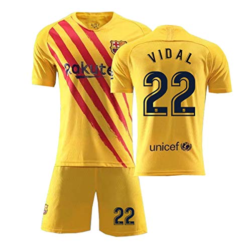 ZGDGG T-Shirt Set Fußball Barcelona Blau Saison 2020-2021 Replica for Fußballfan,Vidal 22 Away,XL