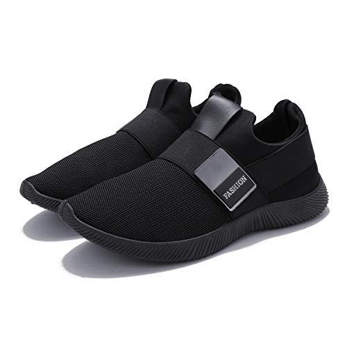 Zapatillas Running para Hombre, Gracosy Sneakers Calzado Deportivo Aire Libre Deportes Fitness Casual Sneakers Gimnasia Ligero Mujer Trenzado Zapatos Correr en Montaña y Asfalto Aire Negro 40 EU