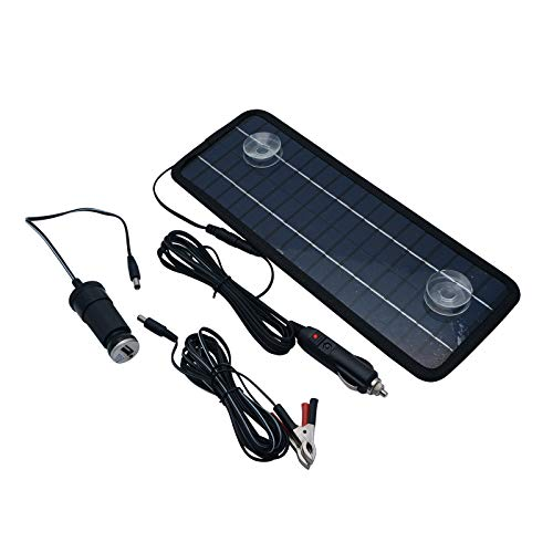 TOTMOX 4.5W 12V Portable Solar Panel Car RV Yacht Motorcycle Backup Power Battery Charger, Ckle Flow Battery Charger Outdoor Power Supply