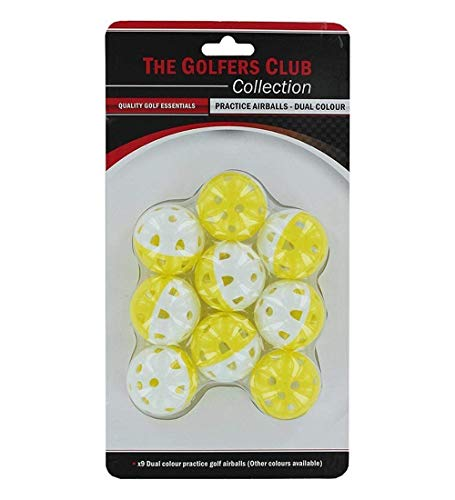 Brand Fusion Airstream Yellow Golf Practice Balls. Pack of 9