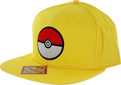 Pokemon - Casquette de Baseball avec Logo Pokeball - Jaune - Ajustable