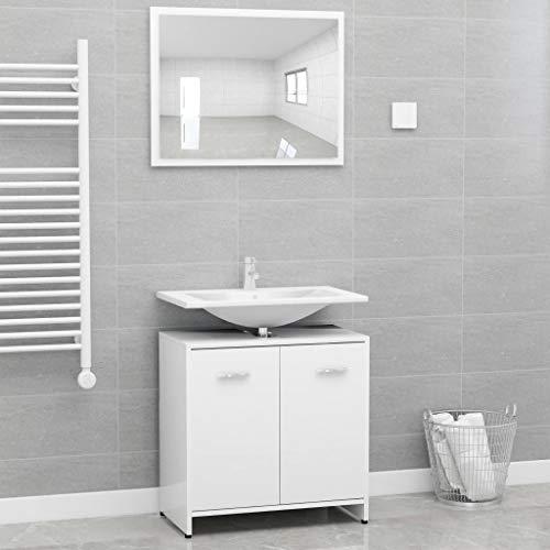 vidaXL Ensemble de Meubles de Salle de Bain Meubles de Toilette Armoire de Rangement Placard de Salle de Bain Maison Intérieur Blanc Aggloméré