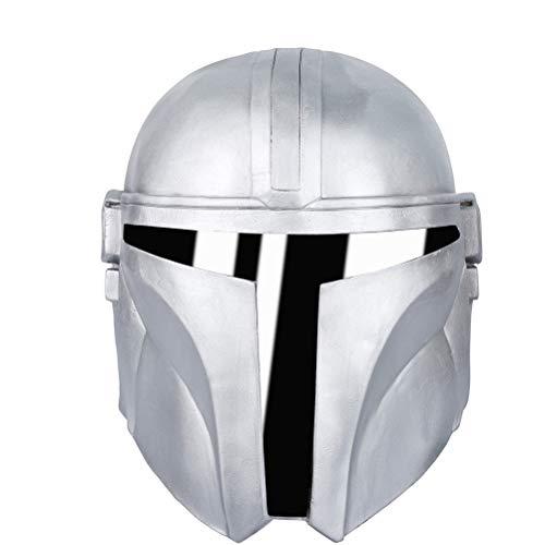 Rsoamy Halloween Maske, Vollgesicht Latex Maske, Mandalorianer Helm Star Wars Deluxe Latexmaske Halloween Party Cosplay Requisite