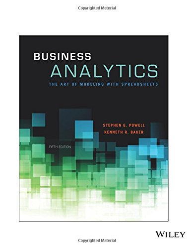 Business Analytics: The Art of Modeling with Spreadsheets, Fifth Edition: The Art of Modeling with Spreadsheets