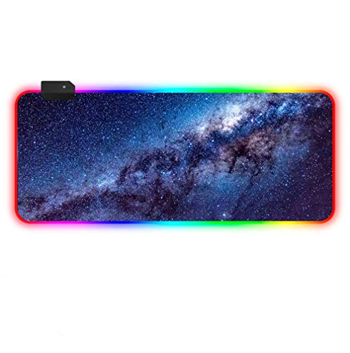Gaming Mouse pad Cosmic Blue Starry Sky LED Backlight XXL RGB Mouse Mat with Smooth Surface for Desktop Laptop-1000×500 MM