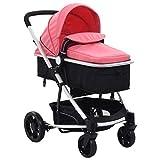 Festnight Cochecito Asiento para Bebé Plegable Silla de Paseo 2 en 1 Aluminio Rosa y Negro