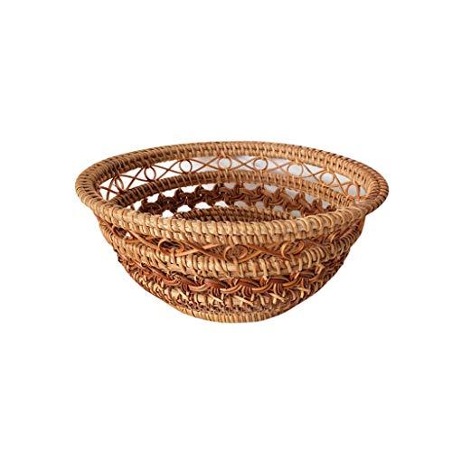 Verakee Einzigartige Hochwertige Hohl Gewebt Brotkorb Rattan, Vietnamesisch Handgemachte Rattan Brotkorb rund, Obst Süßigkeiten Snack Hamburger Runder Servierkorb (Color : Brown)