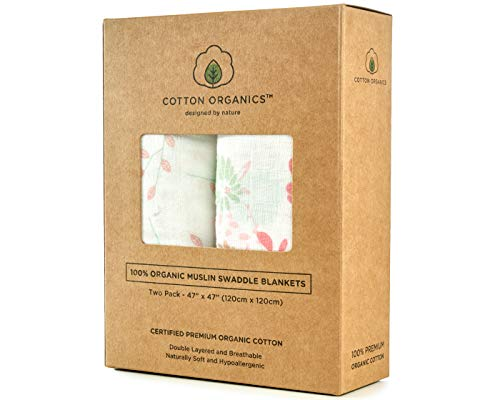 Cotton Organics Muslin Swaddle Blanket, Extra Soft and Hypoallergenic Organic Cotton, Gift Box (Pink)