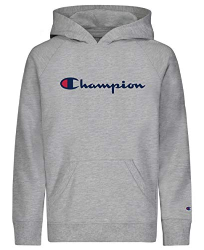 Champion Girls Classic French Terry Pull Over Hooded Sweatshirt Kids Clothing (Oxford Heather Script, X-Large)