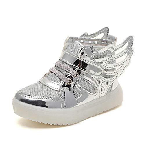 Zapatos de niños con alas Chicas Transpirables Princesa Zapatos de Baile Iluminación LED para niños Zapatos Casuales Zapatillas de Deporte para niños