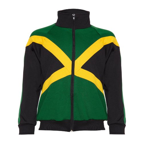 JL Sport Authentic Jamaican Long Sleeved Boys Zip-Up Jacket Black, Green and Yellow