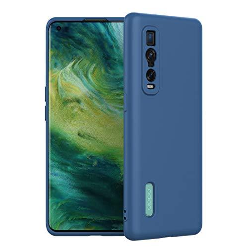 FUNMAX+ Oppo Find X2 Pro 5G Hülle Case, Silikon Handyhülle mit [Schutz für Kamera] [Faser-Innenraum] Anti-Scratch Dünn Schutzhülle Stoßfest Cover für Find X2 Pro (Blau)