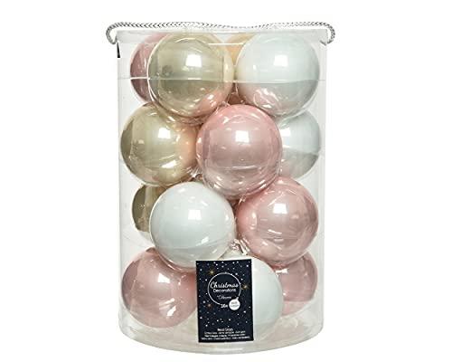 Bolas de Navidad de cristal, 8 cm, 16 unidades, color blanco y rosa