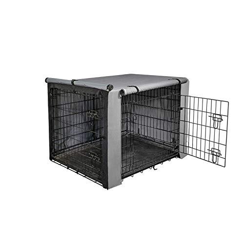 Yotache Dog Crate Cover for 22' Small Double Door Wire Dog Cage, Lightweight 600D Polyester Indoor/Outdoor Durable Waterproof & Windproof Pet Kennel Covers, Gray