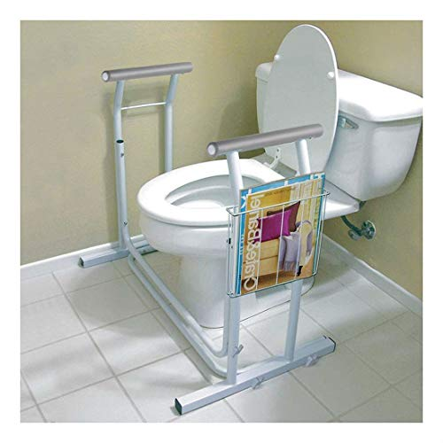 Stand Alone Toilet Safety Frame Rail Bar 375lbs Padded Handrail w/Magazine Rack