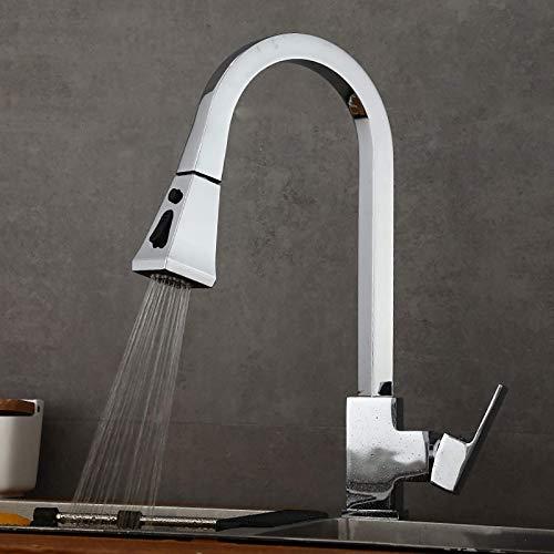 Modern Kitchen Faucet Fregadero Mier Tap, 360DEG;Pulverizador de grifo giratorio, válvula de miing de agua caliente y caliente multifuncional, todo cobre, ósmosis inversa y filtro, cromo grifo lavabo