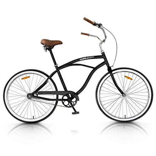 Vip4Vip Bicicleta de Paseo Cuadro de 20 Pulgadas de Acero Llanta y Freno de Aleación Manillar de Acero