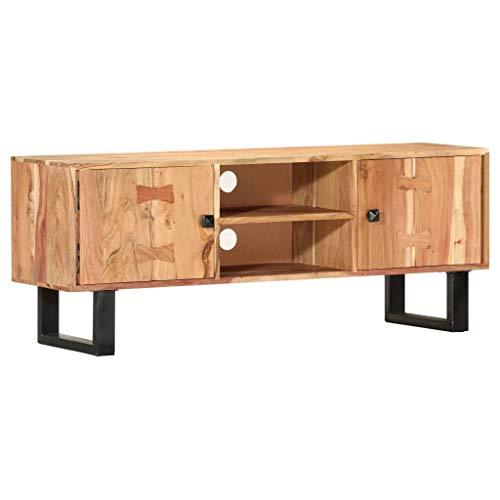 Festnight TV-Schrank TV Schrank Fernsehschrank Lowboard Sideboard Fernsehtisch TV Möbel Board HiFi-Schrank Palisander mit 2 Türen und 2 offenen Fächern ausgestattet 118 x 30 x 45 cm Massivholz Akazie