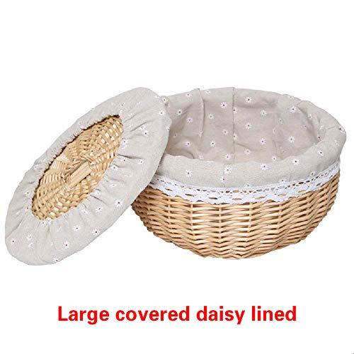 Cestas redondas de mimbre, cesta tejida a mano, cestas de ratan aisladas para el hogar con tapas, cesta de picnic para almacenamiento de alimentos y frutas 35*20 cm (Covered daisy lined) Marron 10