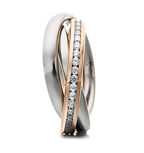 Heideman Bicolor Ring Damen Rosegold Farben aus Edelstahl Dreierring 3 in 1 Ring Rollring Spielring Crystal 50 sr2314-8-1-50