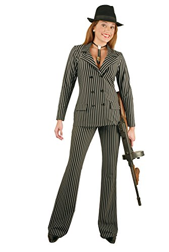 Charades Women's Gangster Suit, Black/White, X-Small