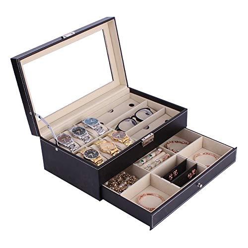 WOSHINIMA Doble Capa 6 + 3 Rejilla Reloj PU Reloj Caja Anillo Pulsera Almacenamiento joyero