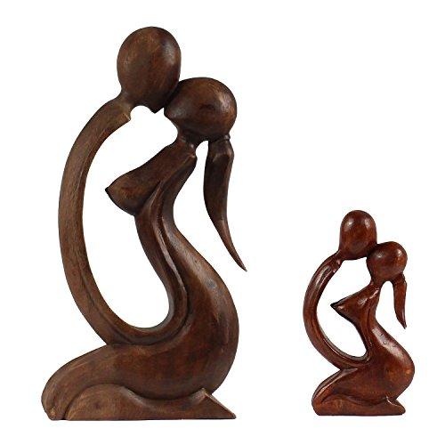 Oriental Galerie Liebespaar Figur Holzfigur Abstrakt Skulptur Mann Frau Kuss Liebe Love Deko Holz ca. 40 cm Nr. 1